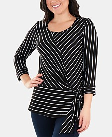 NY Collection Striped Side-Tie Scoop-Neck Top