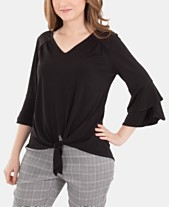 3a8480223d1 NY Collection Bell-Sleeve Tie-Front Top
