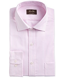 Men's Classic/Regular-Fit Non-Iron Supima Cotton Twill Bar Stripe Dress Shirt, Created for Macy's
