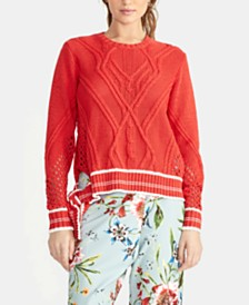 RACHEL Rachel Roy Maggie Cable-Knit Tie Sweater