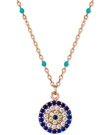 "Evil-Eye Enamel Disc Pendant Necklace in 18k Rose Gold-Plated Sterling Silver, 18"" + 2"" extender"