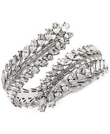 Jenny Packham Silver-Tone Multi-Crystal Bypass Cuff Bracelet