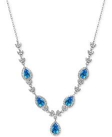 "Giani Bernini Cubic Zirconia Teardrop Fancy 17"" Statement Necklace in Sterling Silver, Created for Macy's"