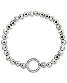 Cubic Zirconia Ring Beaded Stretch Bracelet in Sterling Silver, Created for Macy's