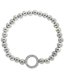 Giani Bernini Cubic Zirconia Ring Beaded Stretch Bracelet in Sterling Silver, Created for Macy's
