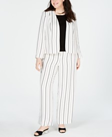 Bar III Plus Size Striped Jacket, Sweater & Striped Pants, Created for Macy's