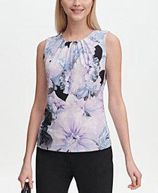 Calvin Klein Petite Printed Pleat-Neck Sleeveless Top