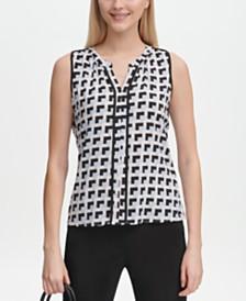 Calvin Klein Printed Piped-Trim Blouse