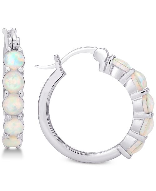 Giani Bernini Imitation Opal Hoop Earrings in Sterling Silver, Created for Macy's