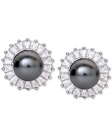 Giani Bernini Imitation Pearl & Cubic Zirconia Halo Stud Earrings in Sterling Silver, Created for Macy's