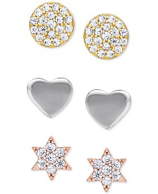 3-Pc. Set Cubic Zirconia Tri-Tone Disc, Heart & Star Stud Earrings in Sterling Silver, 18k Gold-Plate & 18k Rose Gold-Plate