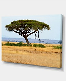 """Designart Acadia Tree And Cheetah In Africa Oversized African Landscape Canvas Art - 32"""" X 16"""""""