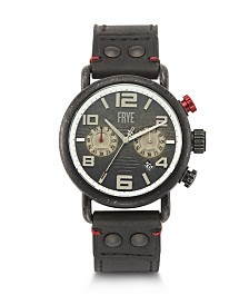 Frye Mens' Officer Chronograph Black Leather Strap Watch