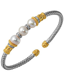 Freshwater Pearl and Cubic Zirconia Braided Cuff in Sterling Silver