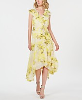 100991b267002 Calvin Klein Floral Chiffon High-Low Wrap Maxi Dress