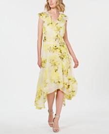Calvin Klein Floral Chiffon High-Low Wrap Maxi Dress