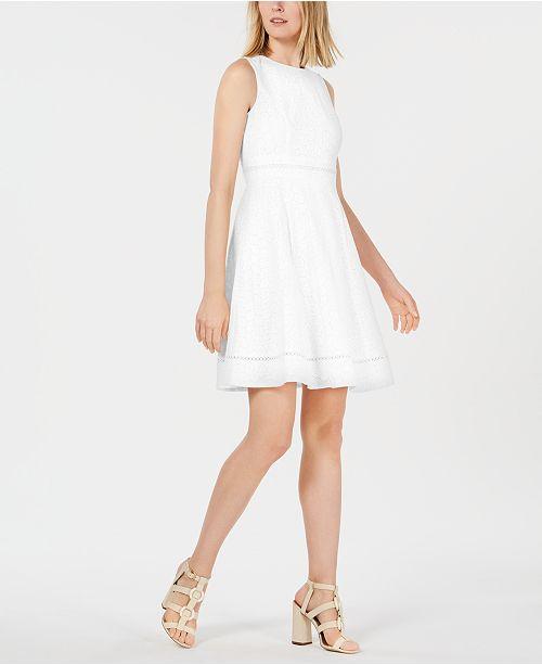 b4390b670f26b Calvin Klein Eyelet Fit   Flare Dress   Reviews - Dresses - Women ...