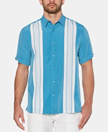 Cubavera Men's Big & Tall Colorblocked Embroidered Panel Shirt