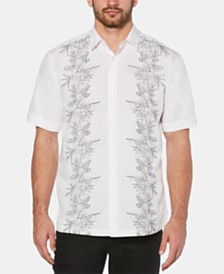 Cubavera Men's Big & Tall Embroidered Tropical-Print Shirt