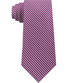 Calvin Klein Men's Striped Slim Silk Tie