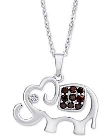 """Rhodolite Garnet (1/3 ct. t.w.) & White Zircon Elephant 18"""" Pendant Necklace in Sterling Silver"""