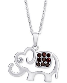 "Rhodolite Garnet (1/3 ct. t.w.) & White Zircon Elephant 18"" Pendant Necklace in Sterling Silver"