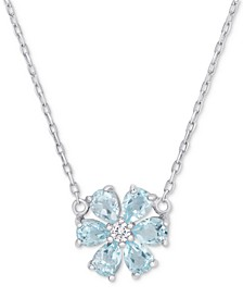 "Blue Topaz (1-1/5 ct. t.w.) & White Topaz Accent Flower 18"" Pendant Necklace in Sterling Silver"