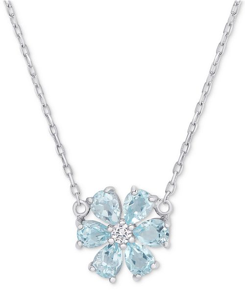 "Macy's Blue Topaz (1-1/5 ct. t.w.) & White Topaz Accent Flower 18"" Pendant Necklace in Sterling Silver"