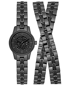 LIMITED EDITION  Women's Petite Runway Black Stainless Steel Triple-Wrap Bracelet Watch 19mm, Created for Macy's