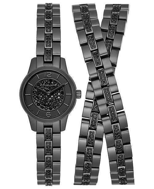 Limited Edition Women S Pee Runway Black Stainless Steel Triple Wrap Bracelet Watch 19mm Created For Macy