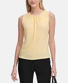 Calvin Klein Petite Sleeveless Pleated Top