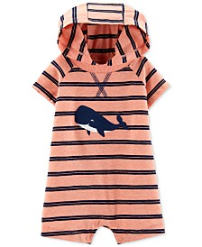 Carter's Baby Boys Striped Whale Hooded Cotton Romper