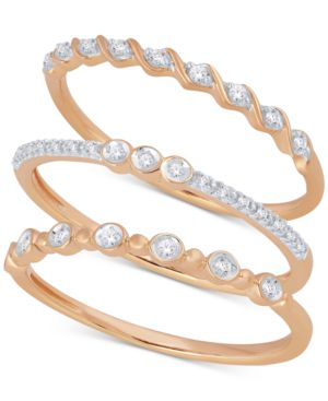 MACY'S | 3 Pc. Set Diamond Stack Rings (1/6 ct. t.w.). | Goxip