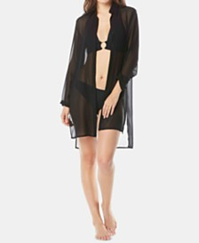Carmen Marc Valvo Tie-Front Shirt Cover-Up