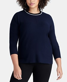 RACHEL Rachel Roy Plus Size Piped-Trim Sweater