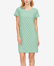 Vince Camuto Short-Sleeve Clipped-Scallop Dress