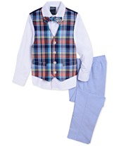 86a4d0e80f9 Nautica Little Boys 4-Pc. Madras Oxford Vest Set