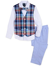 Nautica Little Boys 4-Pc. Madras Oxford Vest Set