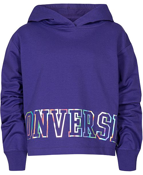 Converse Big Girls Cropped Logo-Print Hoodie