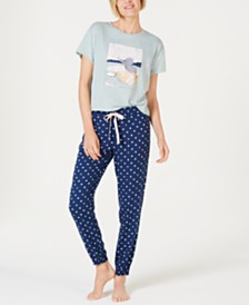 Jenni Printed Short-Sleeve Top and Jogger Pants Sleep Separates, Created for Macy's
