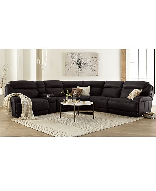 Pleasing Daventry Leather Sectional Sofa Collection With Power Recliners Power Headrests Console And Usb Power Outlet Machost Co Dining Chair Design Ideas Machostcouk