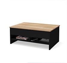 "Small Space 37"" Lift - Top Storage Coffee Table with Solid Wood Top Surface"