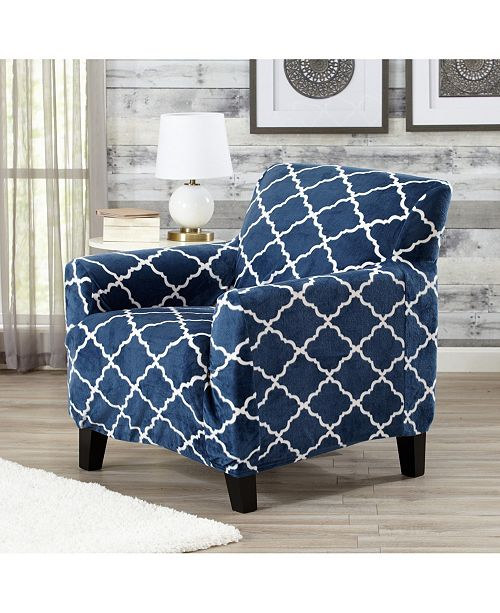Great Bay Home Fashions Printed Velvet Plush Form Fit Stretch Chair Slipcover