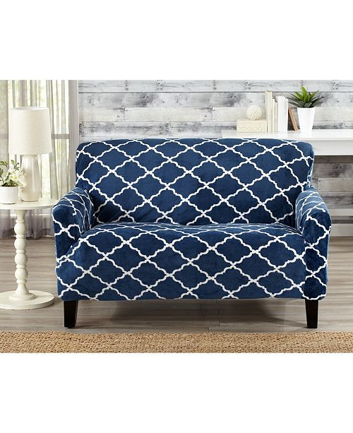 Astounding Printed Velvet Plush Form Fit Stretch Loveseat Slipcover Unemploymentrelief Wooden Chair Designs For Living Room Unemploymentrelieforg