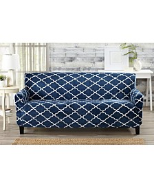 Printed Velvet Plush Form Fit Stretch Sofa Slipcover