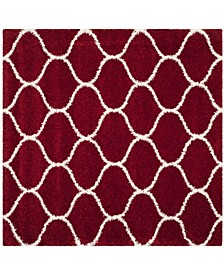 Hudson Red and Ivory 7' x 7' Square Area Rug
