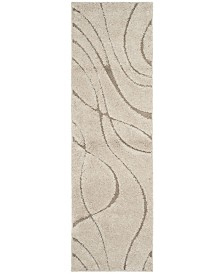 "Safavieh Shag Cream and Beige 2'3"" x 7' Runner Area Rug"