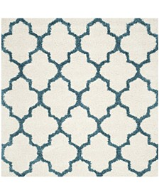 "Shag Kids Ivory and Blue 6'7"" x 6'7"" Square Area Rug"