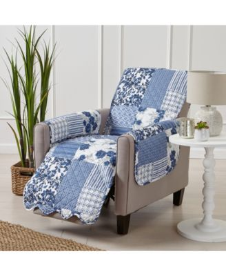 Patchwork Scalloped Printed Reversible Recliner Furniture Protector