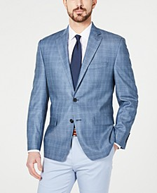 Men's Classic-Fit UltraFlex Stretch Blue Windowpane Plaid Sport Coat